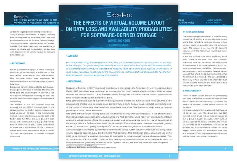 THE EFFECTS OF VIRTUAL VOLUME LAYOUT ON DATA LOSS AND AVAILABILITY PROBABILITIES FOR SOFTWARE-DEFINED STORAGE
