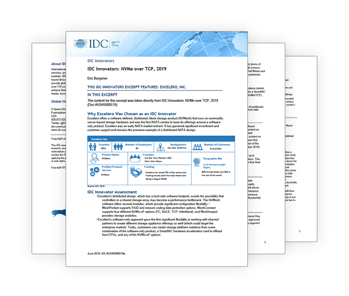 Excelero IDC Report - Innovators in NVMe over TCP/IP 2019