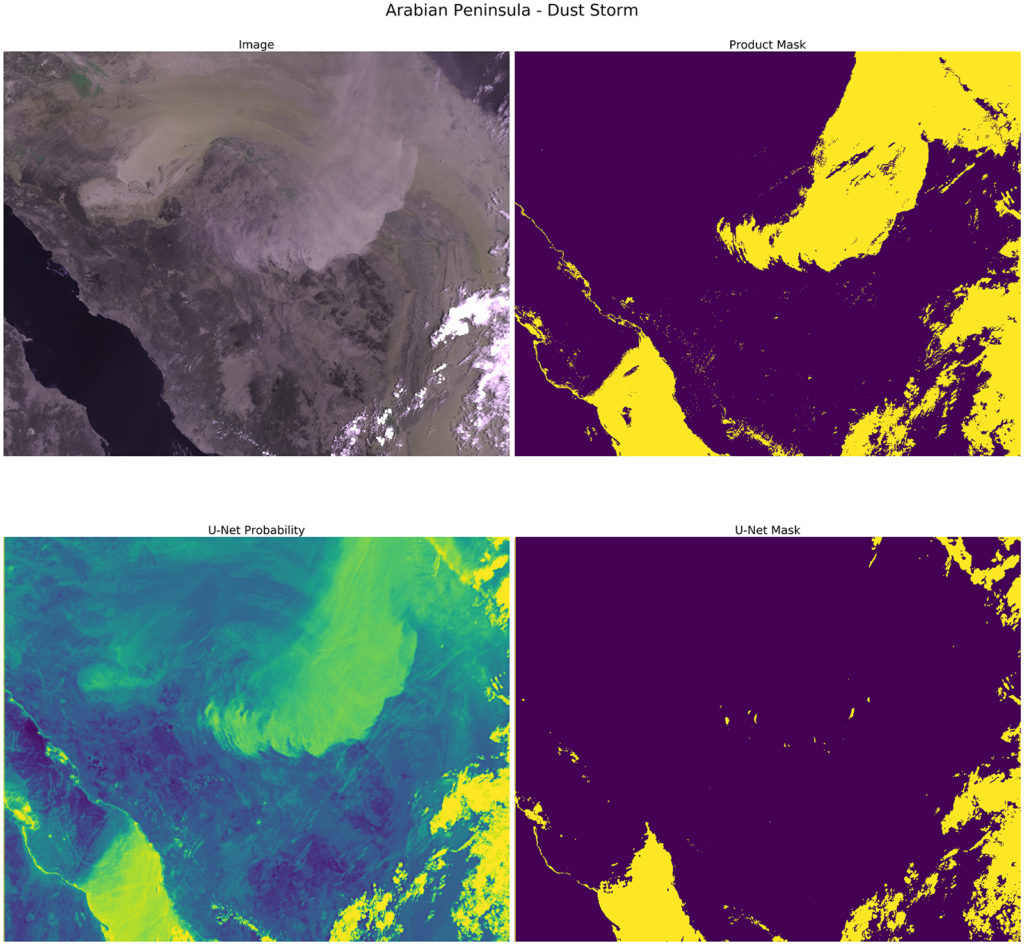 Four images from STFC's cloud masking project using machine language to classifying satellite imagery